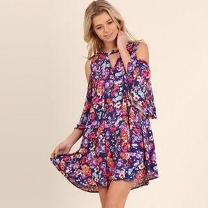 Umgee Boho Floral Print Cold Shoulder Dress XL